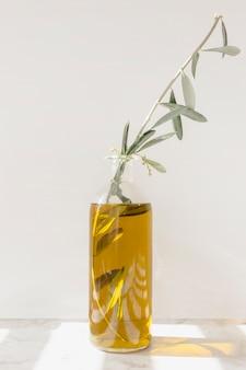 Galho na garrafa de azeite contra a parede branca