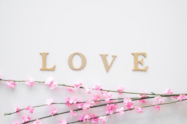 Galhos com flores perto de escrever amor