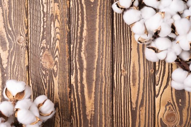 Galhos de algodão no fundo de madeira vista plana de cima cópia espaço design floral usar moldura