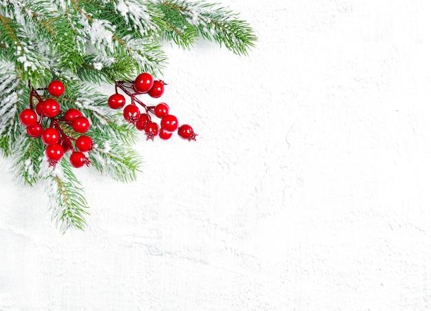 Galhos de árvores de natal com decoração de frutas vermelhas
