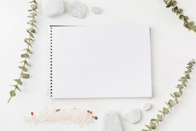 Galhos; pedras de sal e spa em torno do bloco de notas em branco espiral em fundo branco