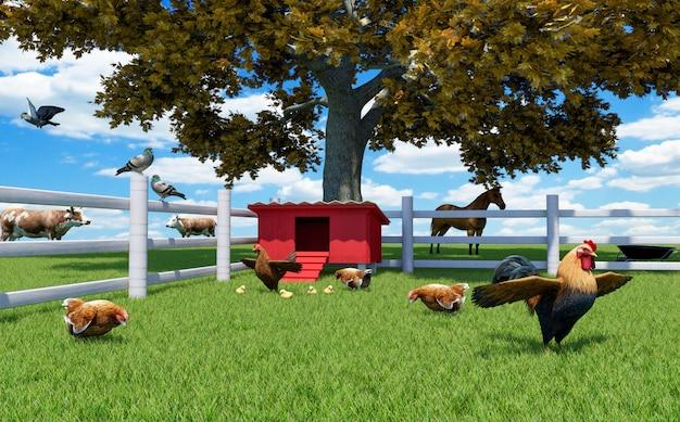Galo, galinhas e galinhas na granja com galinheiro e animais de fazenda