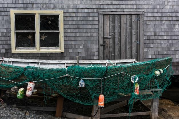 Galpão pesca, e, bote, peggy's, enseada, nova escócia, canadá