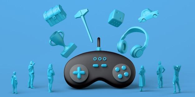 Gamepad gigante com caixa de dados de fone de ouvido e prêmio flutuando e sendo assistido por pessoas