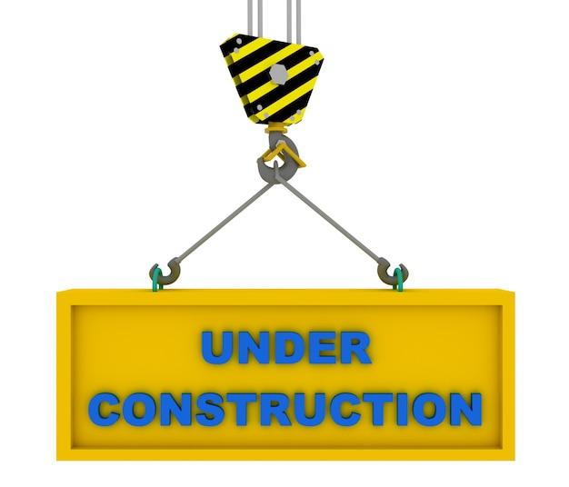 Gancho do guindaste com sinal de construção. ilustração renderizada 3d