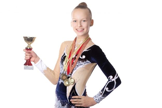 Ganhadora ginasta menina