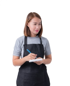 Garçonete, mulher de entrega ou servicewoman na camisa cinza e avental isolado no fundo branco