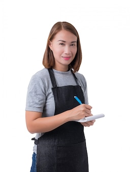 Garçonete, mulher de entrega ou servicewoman na camisa cinza e avental