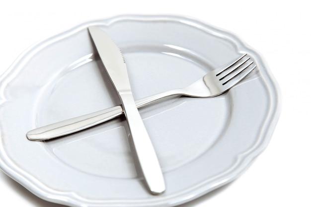 Garfo e faca em um prato vazio