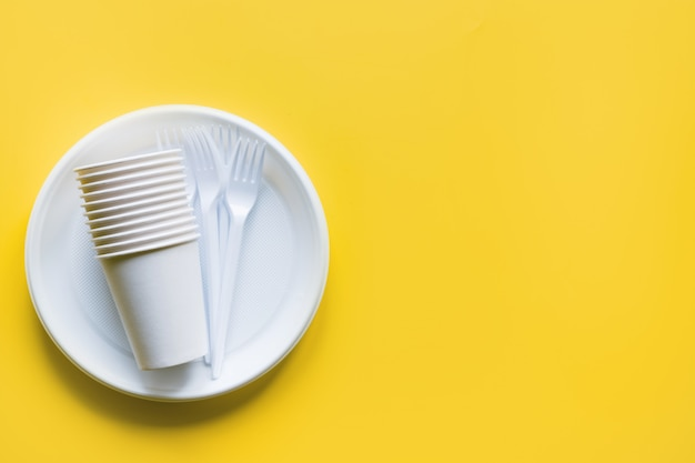 Garfos e pratos descartáveis para piquenique