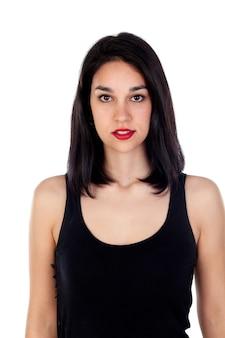 Garota atraente com camiseta preta