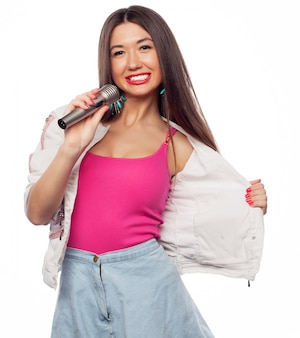 Garota cantora de glamour