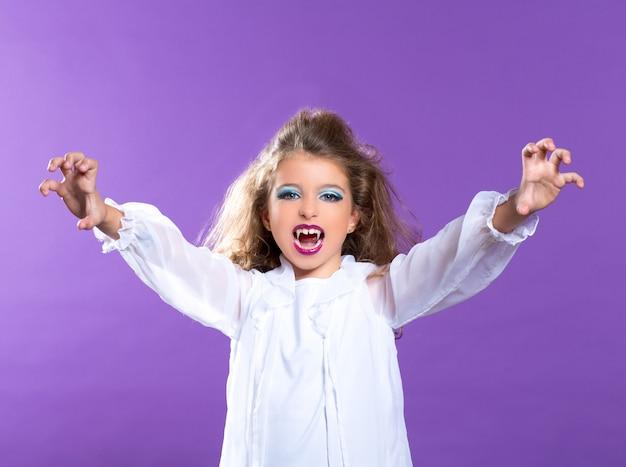 Garota de garoto vampiro maquiagem crianças em roxo