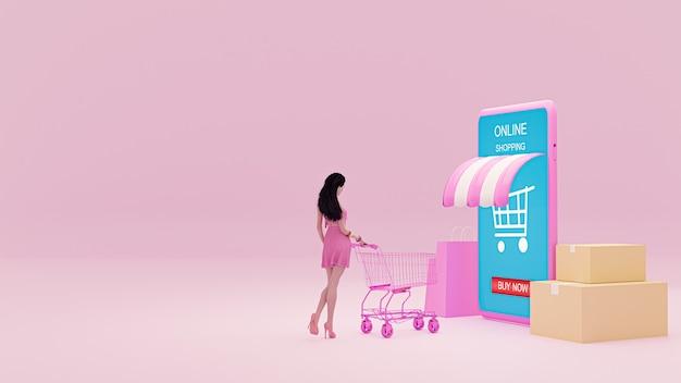 Garota de ilustração 3d com um carrinho de compras em fundo rosa