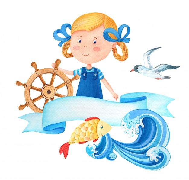 Garota de marinheiro bonito dos desenhos animados em aquarela