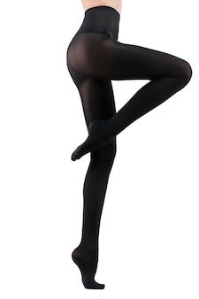 Garota de meia-calça preta. isolado no branco