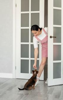 Garota de tiro completo dando petiscos para cachorro