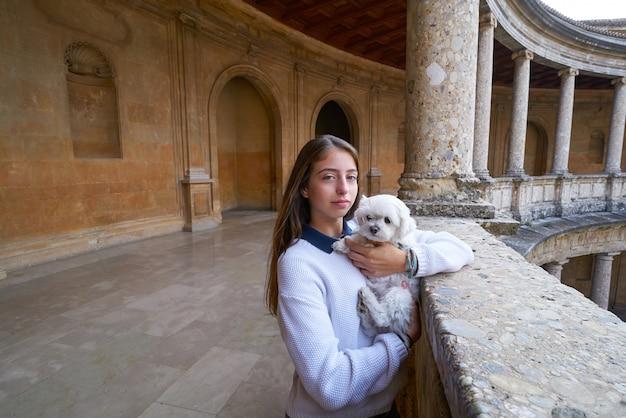 Garota de turista com animal de estimação doy em alhambra granada