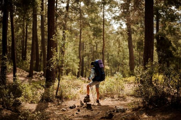 Garota em pé de boné na rocha com mochila caminhadas e bengalas