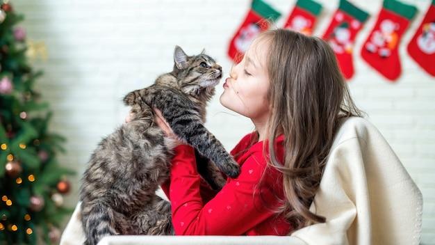 Garota em uma cadeira com um gato em casa, árvore de natal na parede