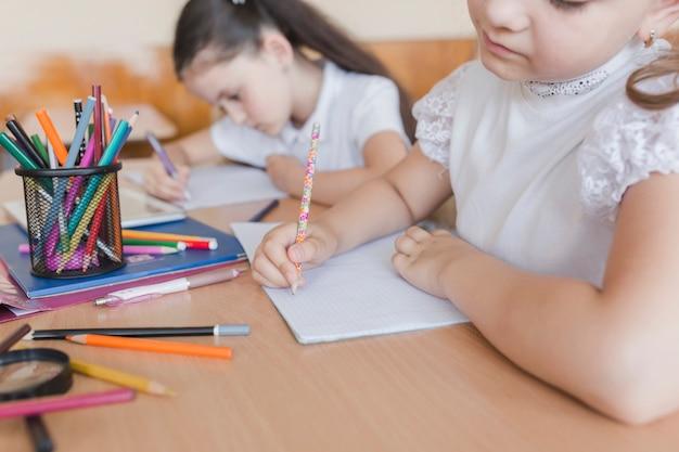 Garota irreconhecível, escrevendo em cadernos