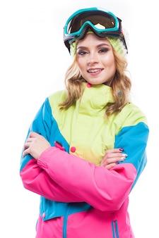 Garota loira em traje de snowboard