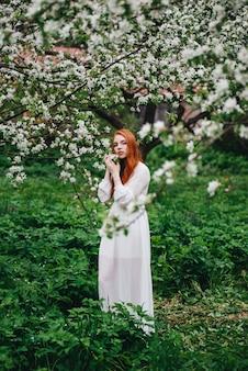 Garota ruiva linda em um vestido branco entre macieiras florescendo no jardim.
