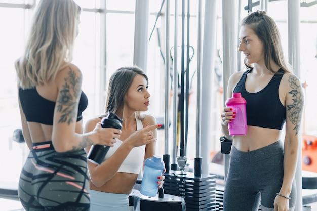 Garotas atraentes em roupas esportivas na academia se comunicam. esportes vida e fitness atmosfera.