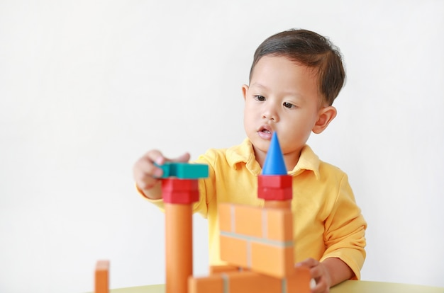 Garotinho asiático brincando com brinquedos de madeira