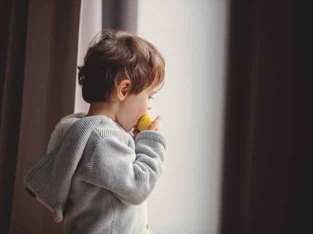 Garotinho da criança comendo uma maçã