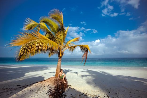Garotinho em pé debaixo da palmeira