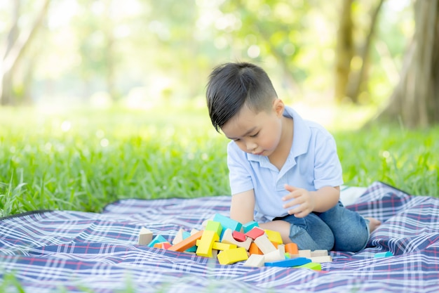 Garotinho está jogando por ideia e inspiração com bloco de brinquedo no campo de grama