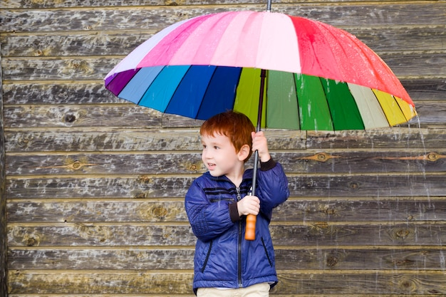 Garotinho se escondeu sob um guarda-chuva multicolorido