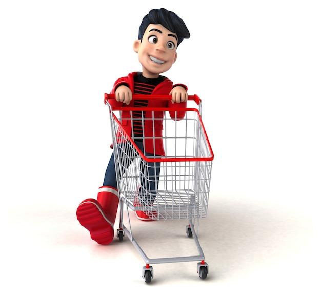 Garoto adolescente divertido em 3d fazendo compras
