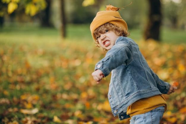 Garoto bonito brincando com folhas no parque outono