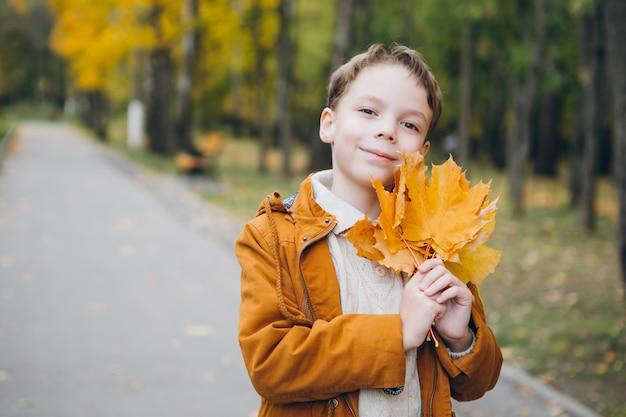 Garoto bonito caminha e posa em um parque colorido de outono