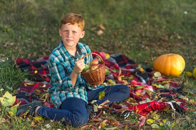 Garoto bonito segurando uma cesta com maçãs