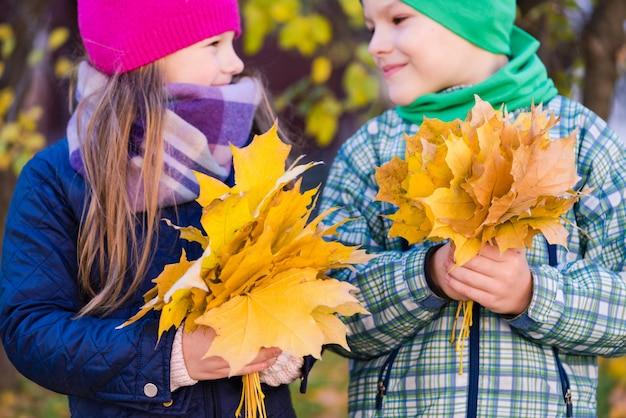 Garoto e garota românticos pré-adolescentes segurando folhagem de outono