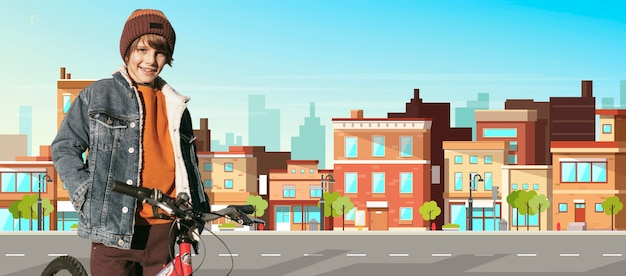 Garoto sorridente de tiro médio com bicicleta