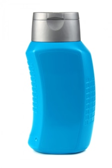 Garrafa azul para pelo shampoo