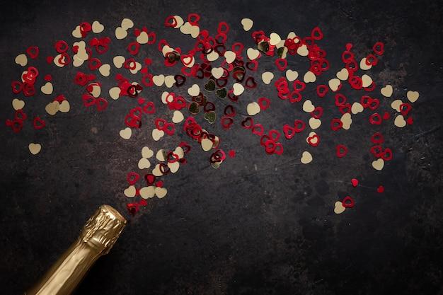 Garrafa de champanhe e padrão