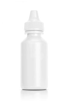 Garrafa de conta-gotas branca isolada