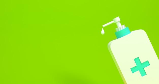 Garrafa de desinfetante para as mãos com renderização 3d de fundo de cor
