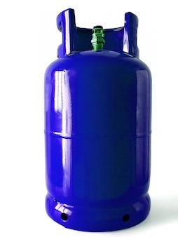 Garrafa de gás azul isolada em um fundo branco.