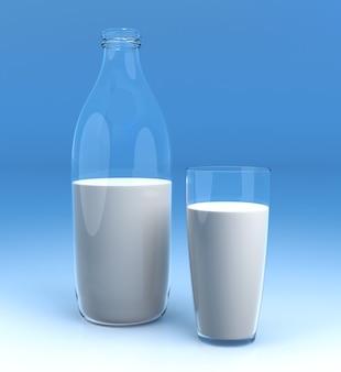 Garrafa de leite e copo sobre fundo azul