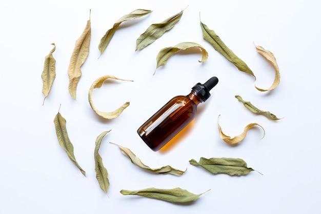 Garrafa de óleo de eucalipto com folhas secas em branco