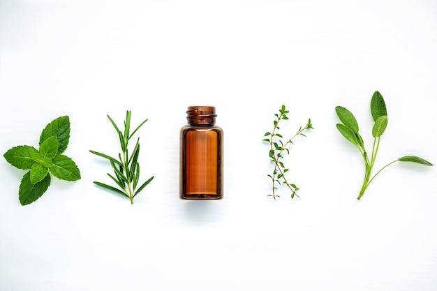 Garrafa de óleo essencial com ervas frescas na mesa de madeira branca.
