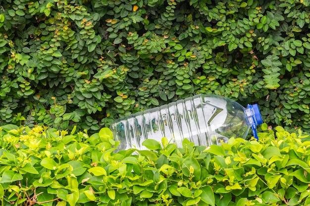 Garrafa de plástico de água em uma planta verde