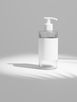Garrafa de plástico transparente branca de renderização 3d com bombas de xampu isoladas no branco