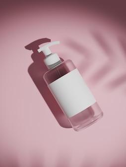 Garrafa de plástico transparente branca de renderização 3d com bombas dispensadoras isolado no branco